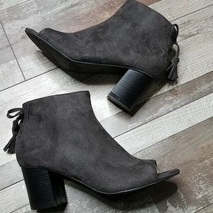 Shoes - Open toe vegan suede ankle booties size 7
